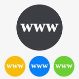 Icono plano texto www en circulo varios colores
