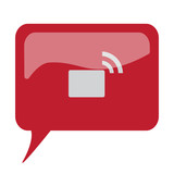 Red speech bubble with white Transmitter icon on white backgroun