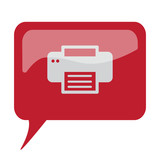 Red speech bubble with white Printer icon on white background