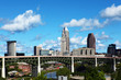 View of skyline of Cleveland, Ohio on a summer day