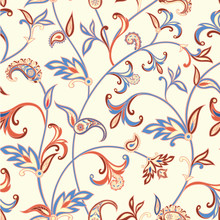 Floral seamless pattern. Flower swirl background. Arabic ornament with fantastic flowers and leaves.