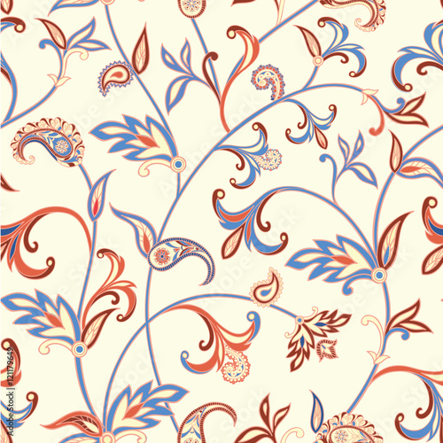 Fototapeta Floral seamless pattern. Flower swirl background. Arabic ornament with fantastic flowers and leaves.