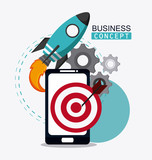 smartphone gears target and rocket icon. Business financial item and strategy theme. Colorful design. Vector illustration