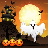 Halloween background with flying ghost and pumpkins character