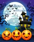 Halloween background with cartoon pumpkins character