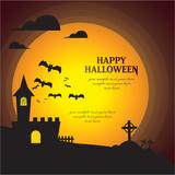 Happy halloween greeting vector theme set.