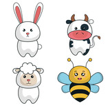 cartoon animals cute design vector illustration eps 10