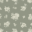 Seamless pattern with vintage rose silhouettes. Floral background