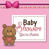 invitation baby shower card pink with bear desing vector illustration eps 10