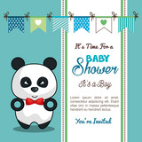 invitation baby shower card with panda desing vector illustration eps 10