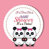 invitation twins girl panda baby shower card design vector illustrartion eps 10