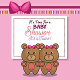 invitation baby shower twins girl pink bear vector illustration eps 10