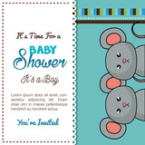 baby shower card mice twins design vector illustration eps 10