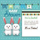 baby shower card twins rabbit design vector illustration eps 10