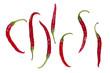 Фигура, выложенная из плодов красного перца на белом фоне