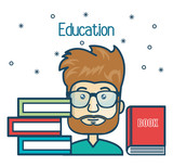 cartoon student education books read design vector illustration graphic