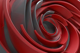 3D rendering abstract background. Twisted concentric shapes. Rotated elements with random sizes with reflective surface. - 121197463