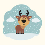 Funny reindeer on background of snowflakes. Little reindeer in cartoon style.
