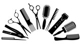 Fototapety silhouettes of tools for the hairdresser