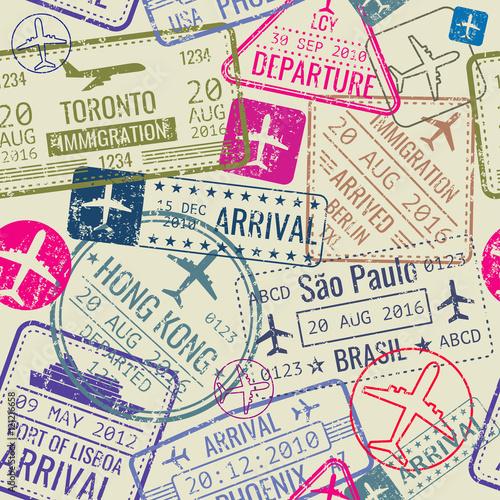 Tapeta Vector seamless pattern with passport visa stamps