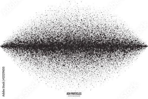 Abstract vector dark gray round ash particles on white background. Spray effect. Scatter falling black drops. Hand made grunge texture © yamonstro