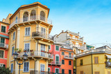 Group of bright buildings in Lerici, Ligurian province, Italy.