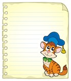 Notebook page with cat teacher 1