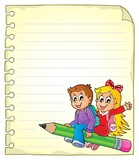 Notebook page with school kids 1