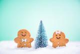 Kids enjoy Christmas tree in snow