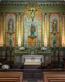 Sanctuary and altar inside the Old Mission Santa Barbara in California
