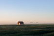 Barn in Morning Fog on Prairie