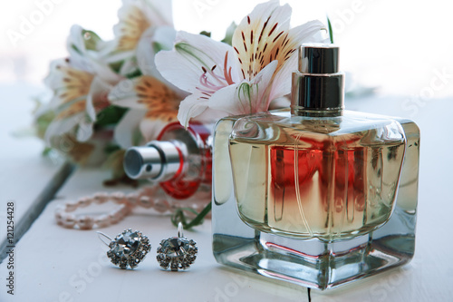 Poster perfume with flowers