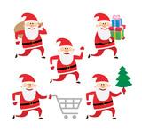 running santa claus set on white background
