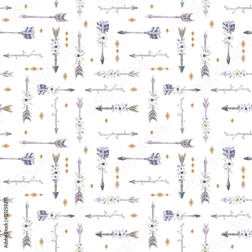 Watercolor boho seamless pattern with teepee, arrows and feather - 121258217