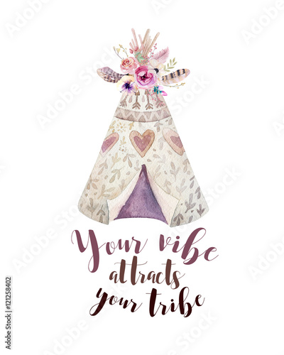 handdrawn-watercolor-tribal-teepee-isolated-white-with-quote-tent-and-arrow-boho-america-traditional-native-ornament-indian-tee-pee-arrows-feathers