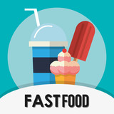 Ice cream icon. fast food menu american and restaurant theme. Colorful design. Vector illustration