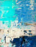 Fototapety Teal and Beige Abstract Art Painting