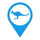Icono plano localizacion canguro azul