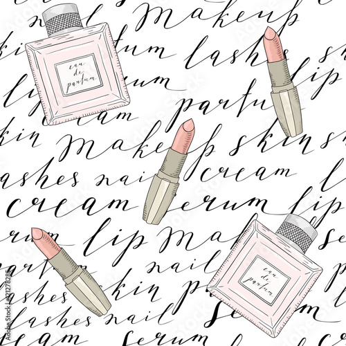 Cotton fabric Pattern with handwritten words about beauty, cosmetics and makeup. Perfume, lipstick.