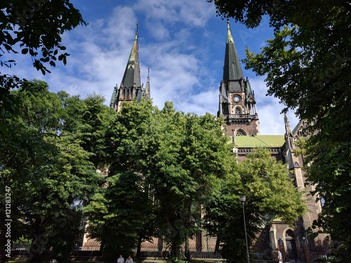 Deurstickers Cathedral Cove Lviv Neo-Gothic Cathedral