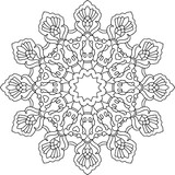 Snowflake Line Drawing ornament coloring page design element
