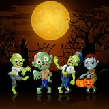 Zombies party cartoon Halloween costumes in graveyard