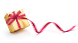 Fototapety Gift box with ribbon isolated on white