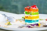 Close up piece of rainbow layer cake