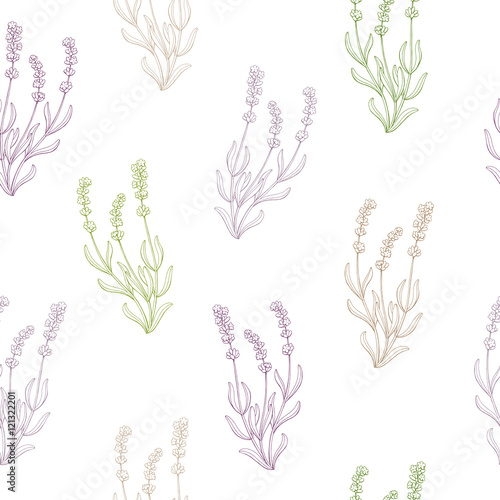 Lavender flower sketch graphic art seamless pattern illustration vector - 121322201