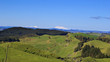 Picturesque green hills volcanoes landscape panorama