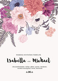 Fototapety Wedding invitation with summer flowers.