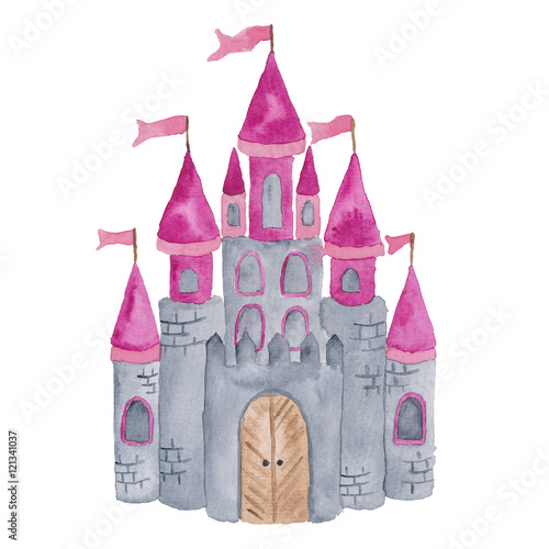 Princess Castle Pink Baby Girls Nursery Fairy watercolor Illustration Isolated on the white