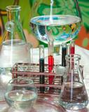 "Different laboratory glassware with color liquid. Closeup. 120073311,Morning in Lichtenstein"""