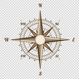Vector Compass. Height Quality Illustration. Old Style. West, East, North, South. Wind Rose Simple Isolated